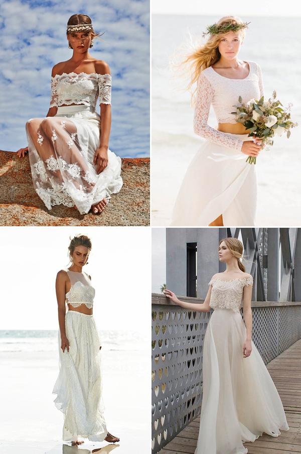 boho style two piece wedding dress