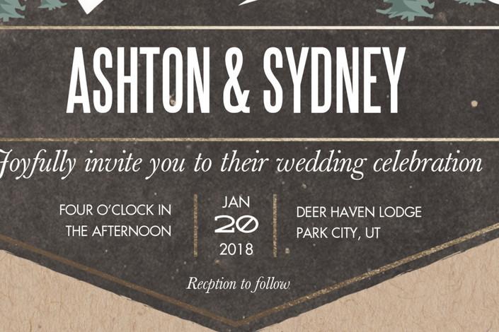 close up rustic mountain wedding invitation