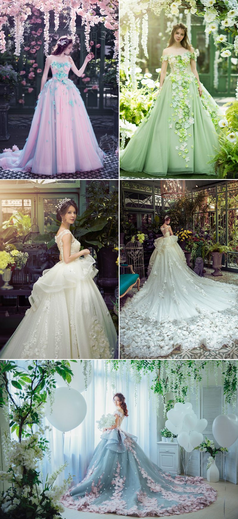 colorful wedding dresses with a gorgeous model