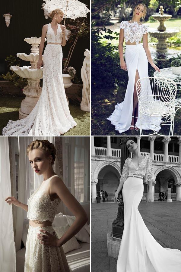 crop top vintage wedding gown