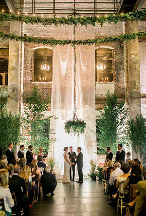 drapery-greenery-wedding-altar decor