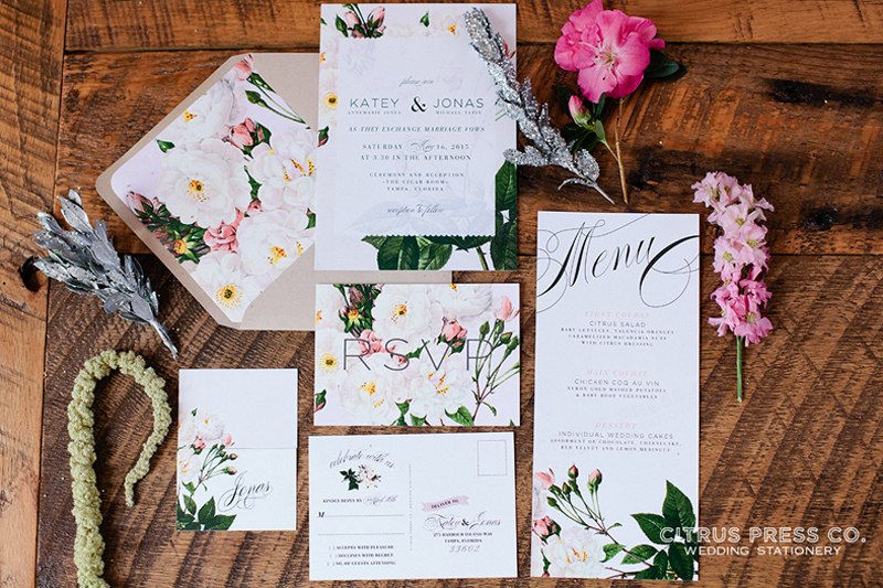 floral theme design for wedding card