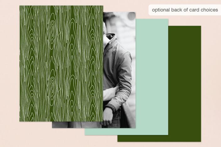 green back of wedding card design