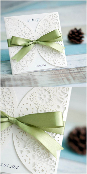 laser-cut-elegant-wedding-invitations-with-green-ribbons