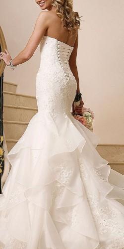 mermaid white strapless wedding design