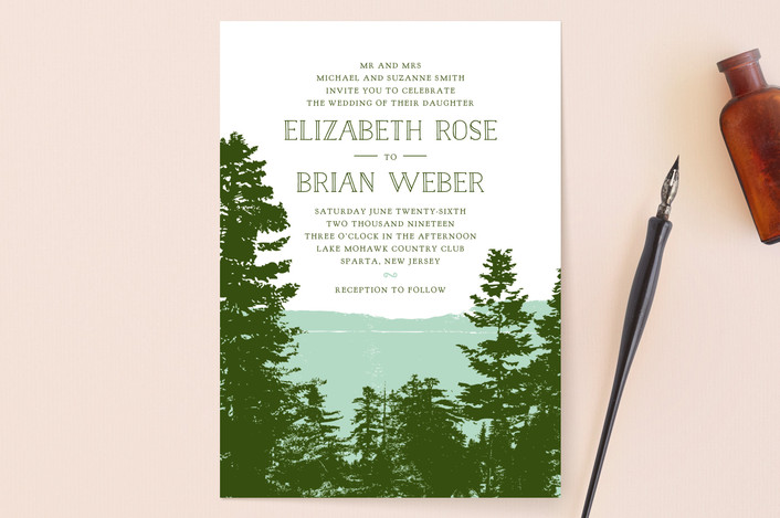 mountain view wedding invitation design
