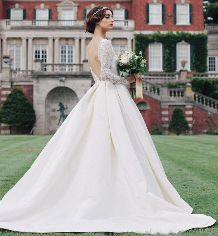 open off the shoulder wedding dress