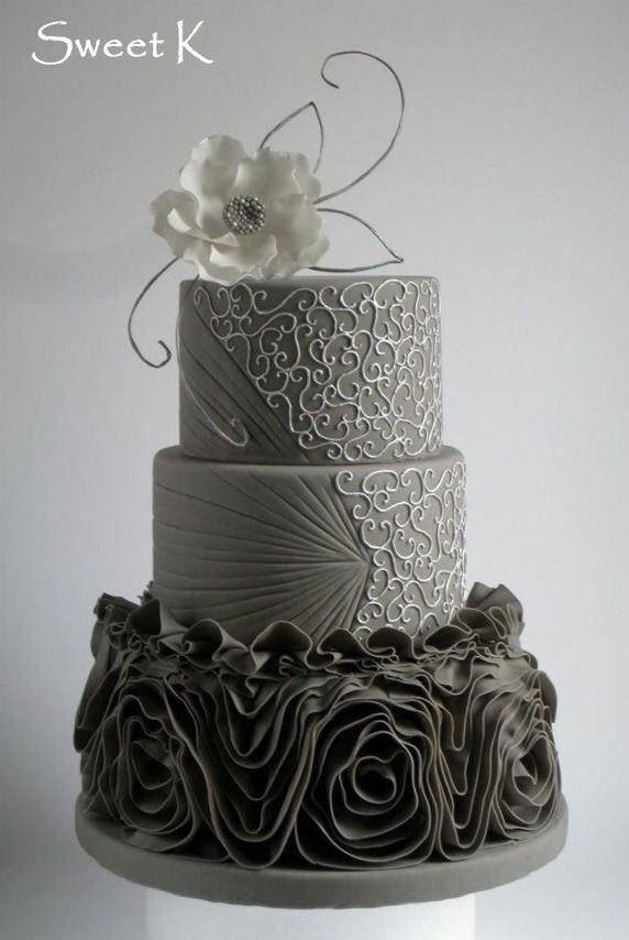 charming gray wedding cake