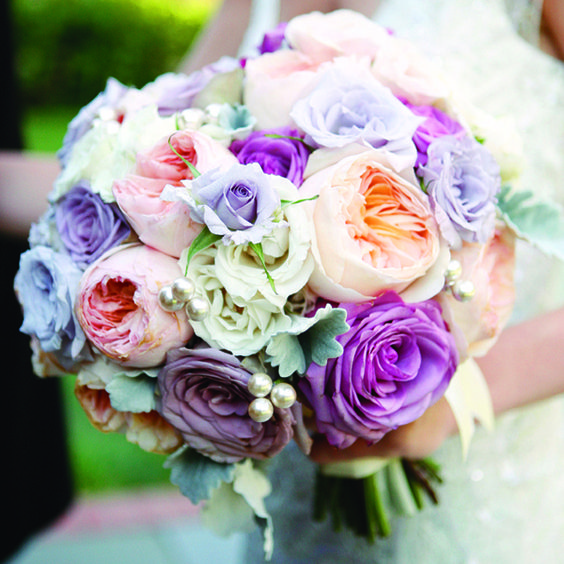 vibrant purple and blue wedding bouquet