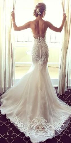 white mermaid lace dress