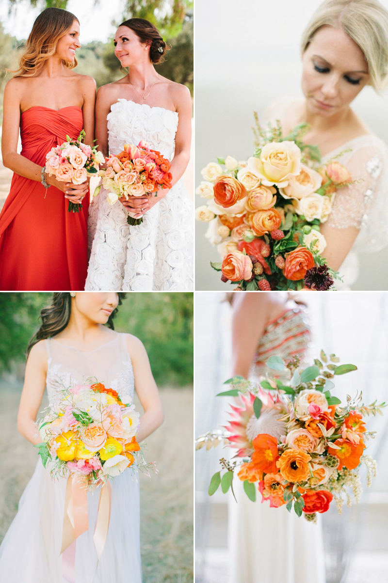 yellow and orange ombre wedding bouquet