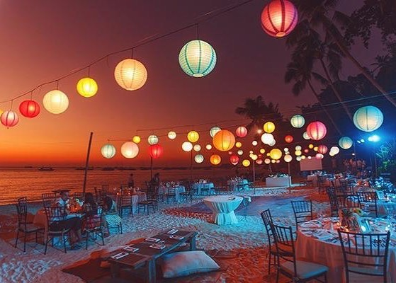 colorful lantern for night beach wedding