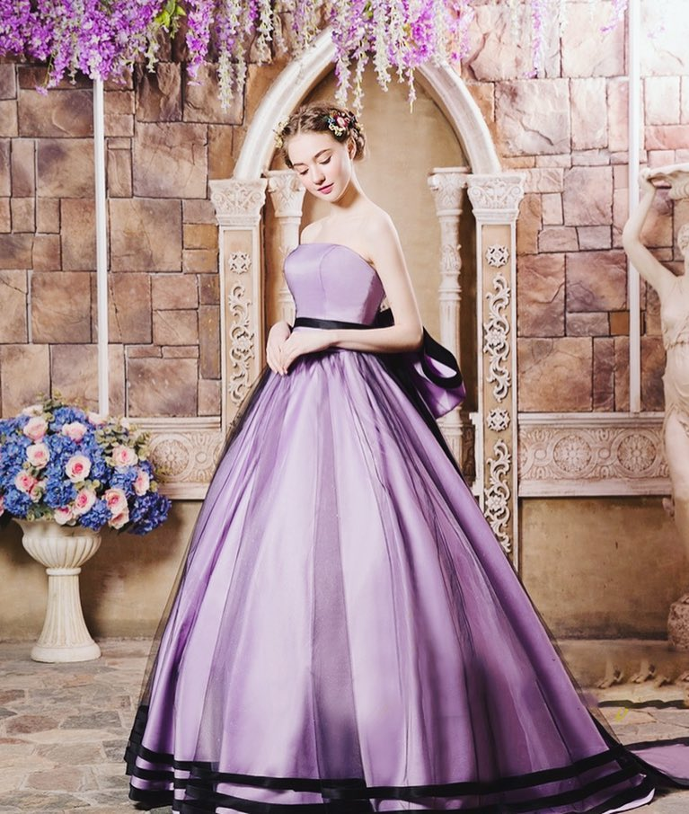 classic purple ball gown