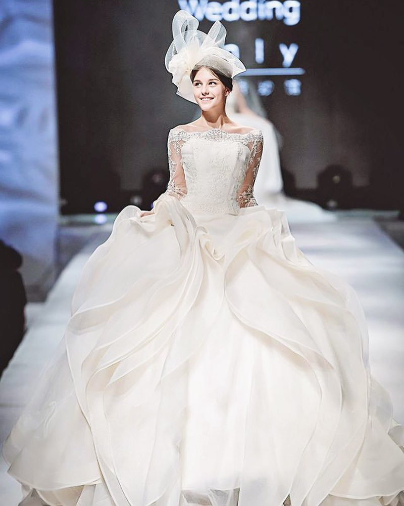 overlayered wedding gown design