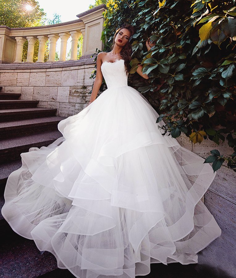 beautiful layered wedding gown