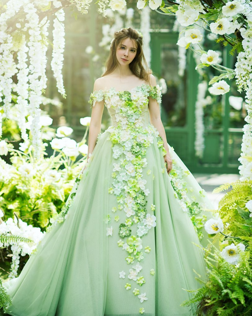 colorful green 3D floral wedding gown