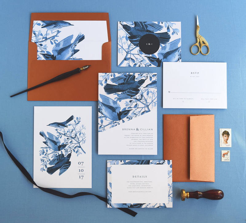 Blue Vintage-Bird-Art-Invitation