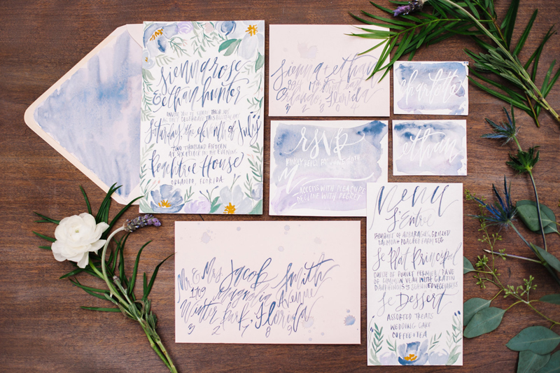 French-Blue-Lavender-Florals-Painted Wedding Card