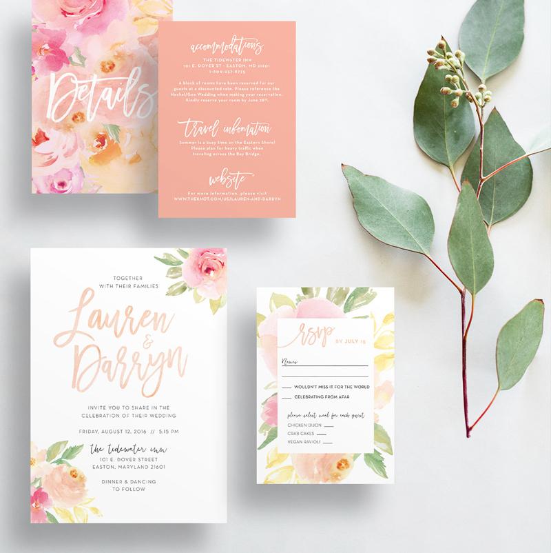 Peach-Floral-Wedding-Invitations Ideas