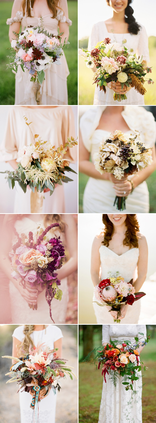 Warm and earthy wedding bouquets ideas