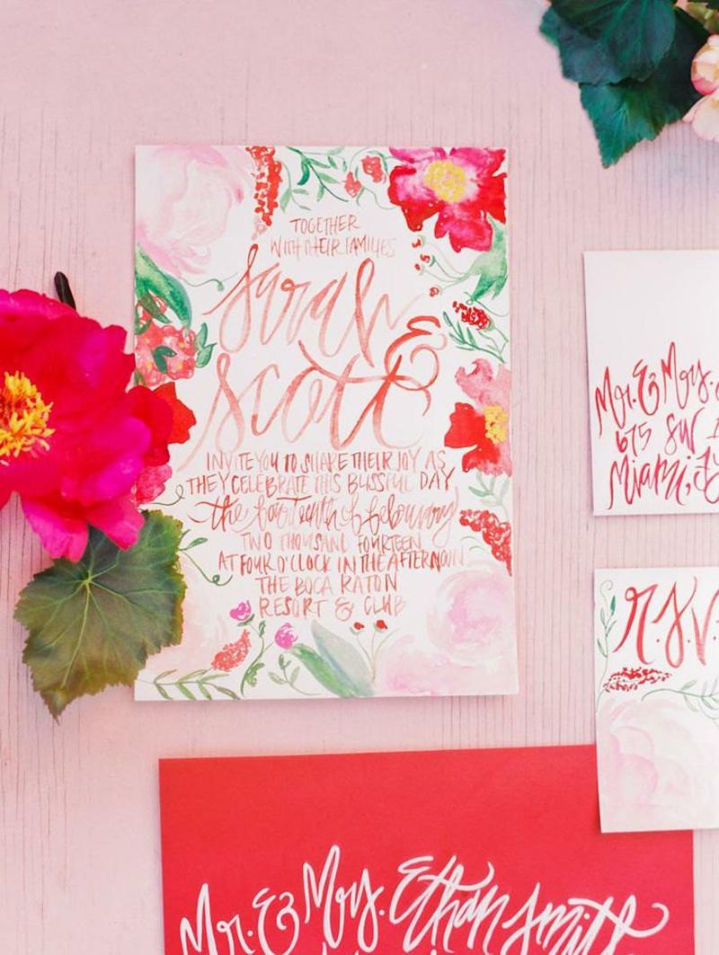 Watercolor-Blossoms Pink Invitation