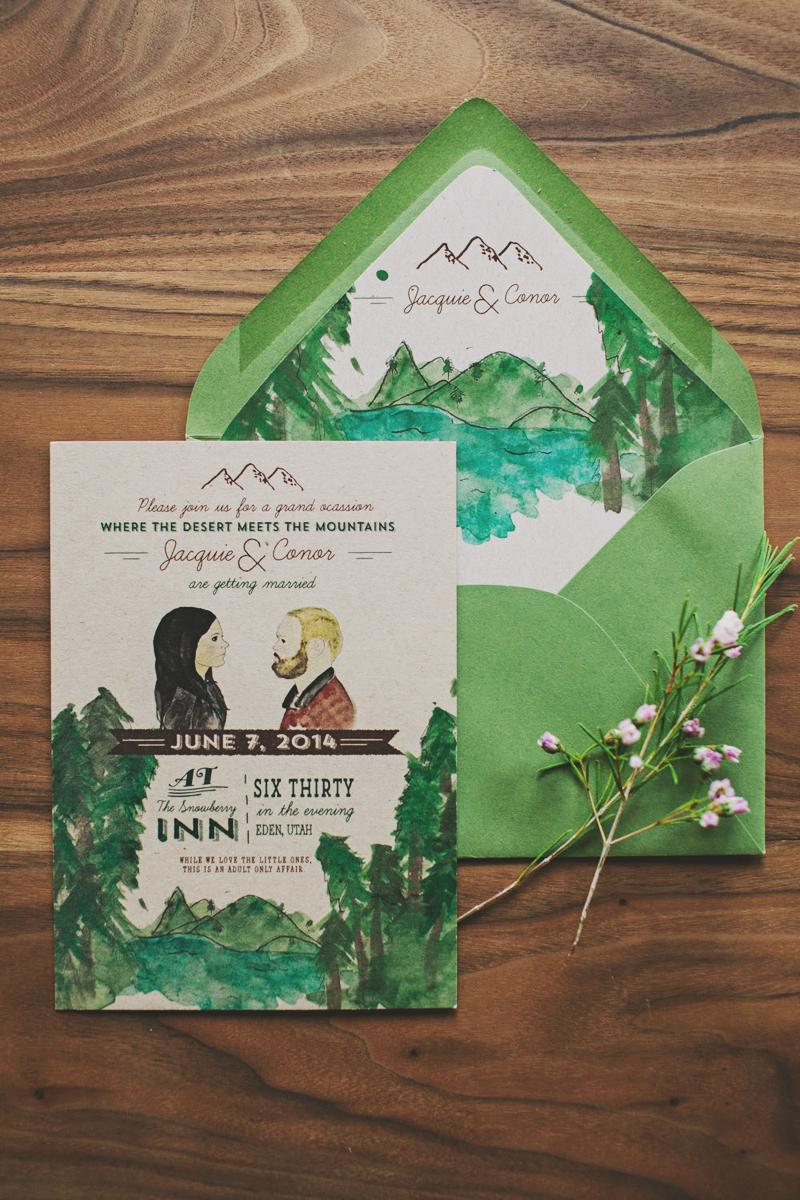 Watercolor- Green -Mountain-Wedding-invitation