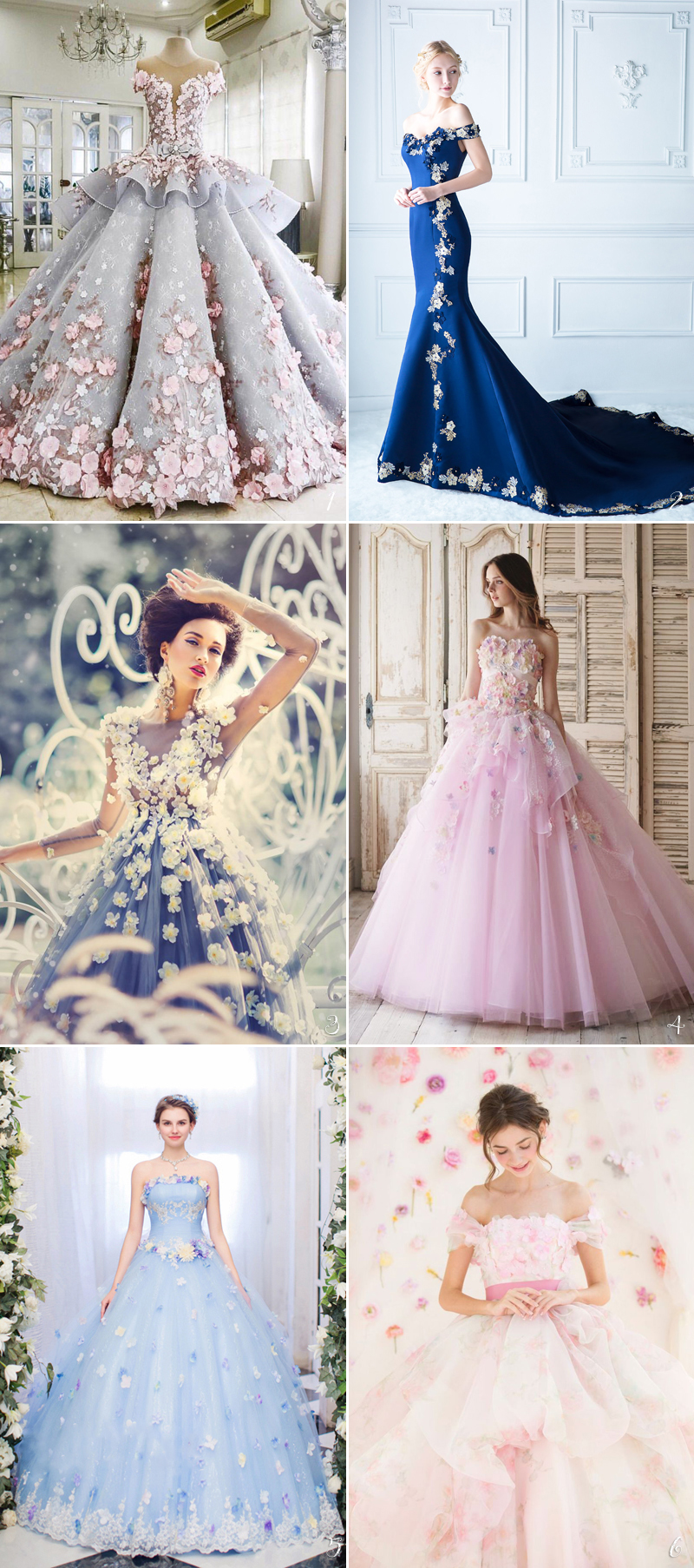 beautiful and elegant Colored Gowns