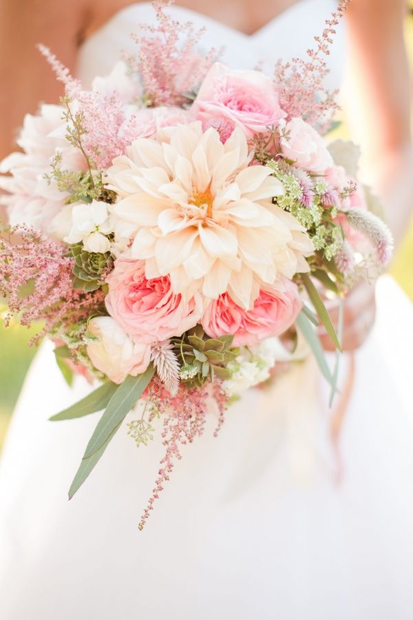 beautiful pink and peach wedding bouquet