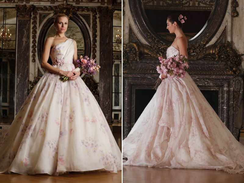 beautiful white and pink wedding gown