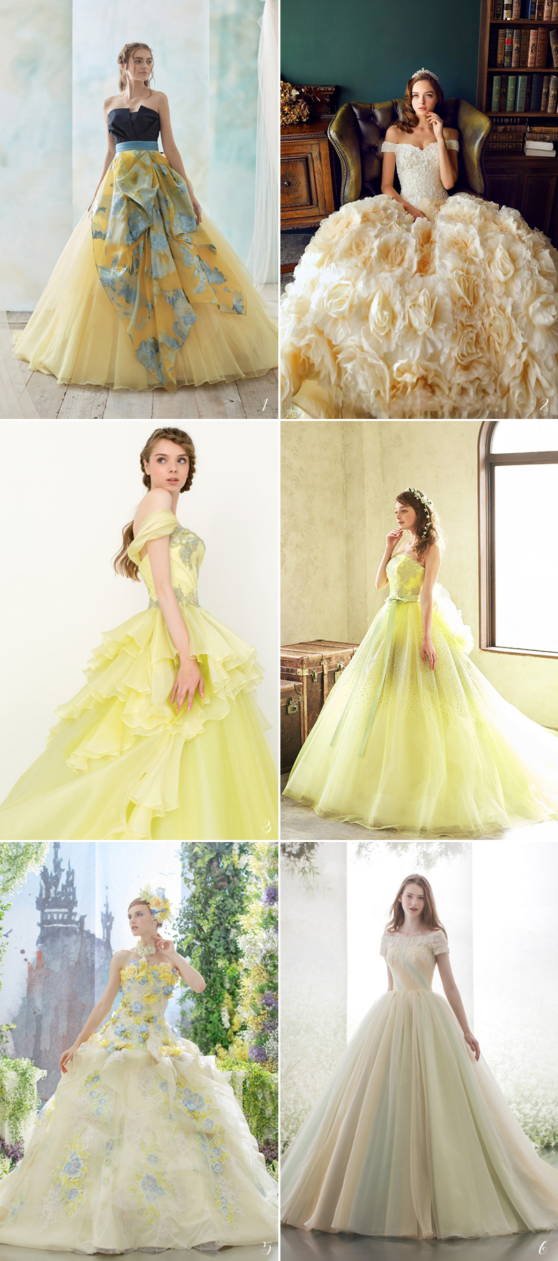 belle wedding dresses ideas with touch of yellow