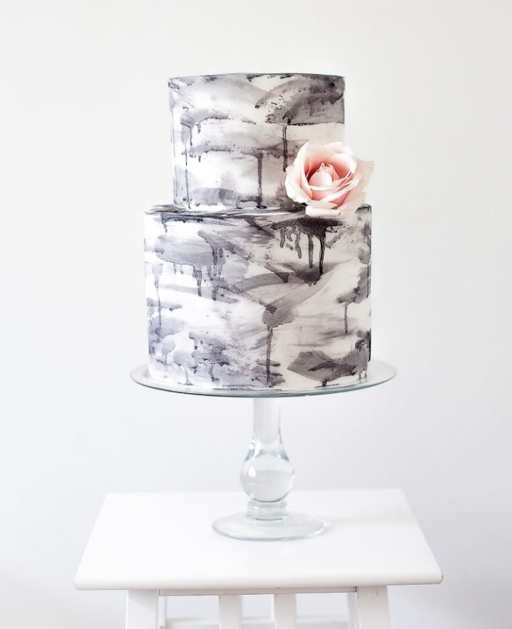 black and white gradient wedding cake