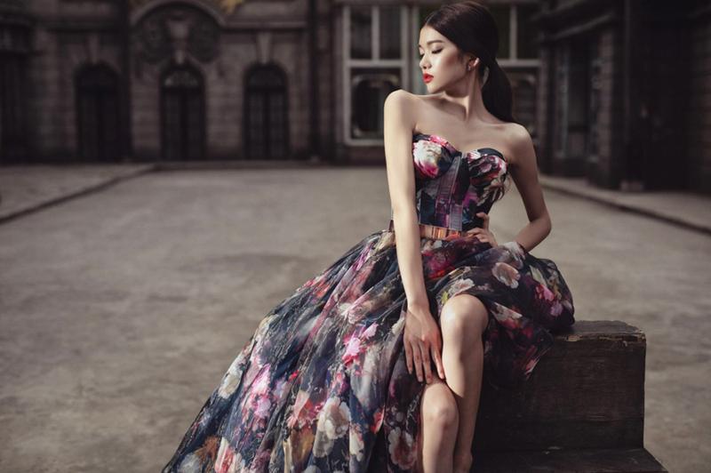 black floral gown design