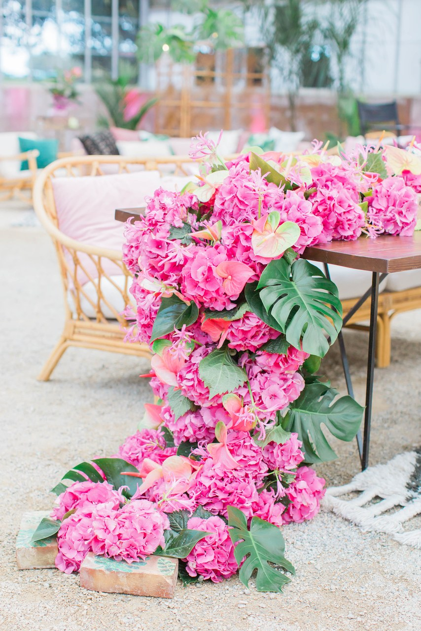 cascading pink floral for table garlands