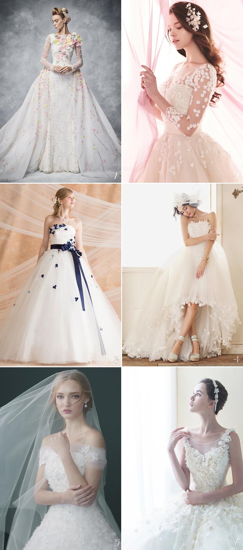 colorful 3D Floral design for wedding dress