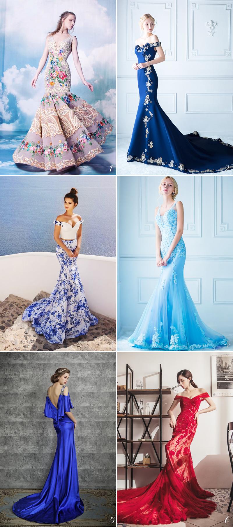 colorful elegant wedding gown