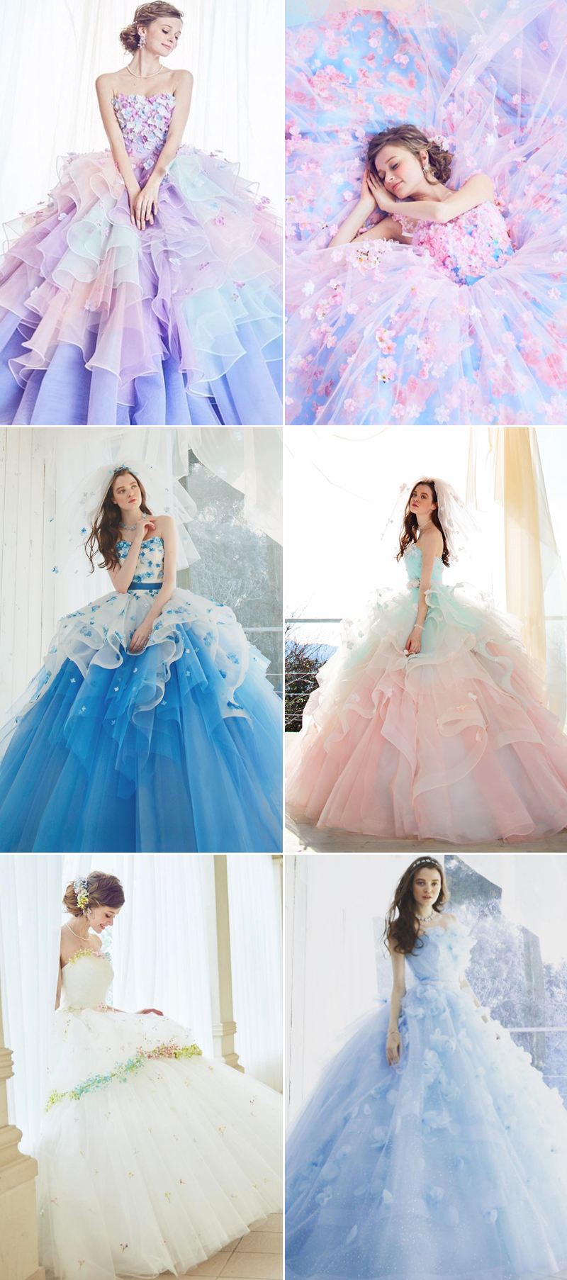 colorful layer wedding gown