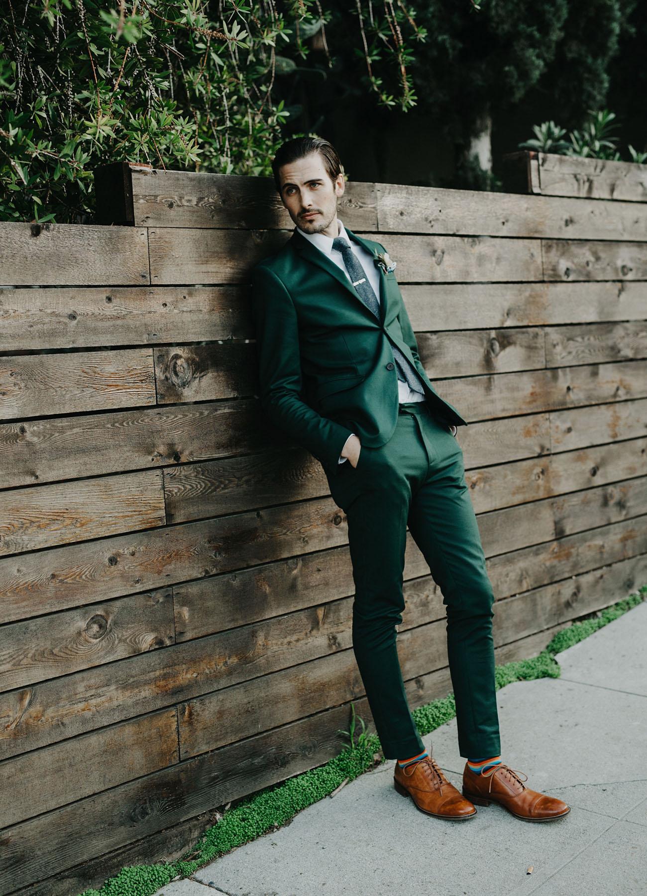 cool green wedding attire
