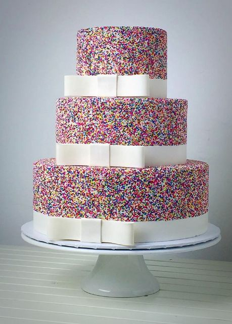 cute and colorful wedding cake with sprinkles