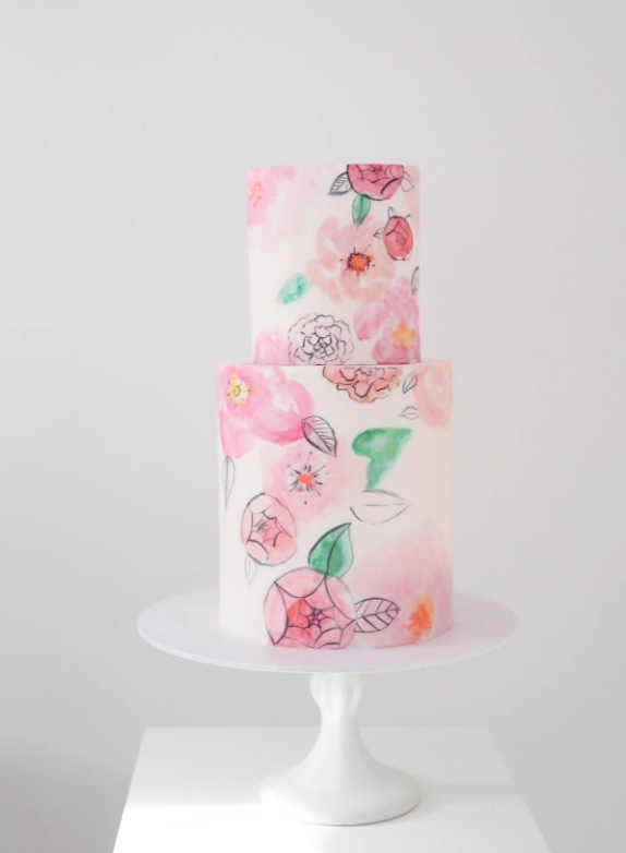 cute and pink wedding cake