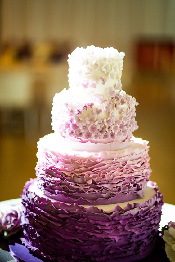 cute purple wedding cake's topping