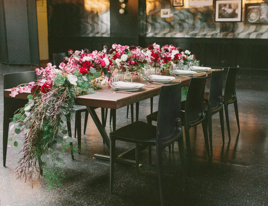 floral pink table wedding decor