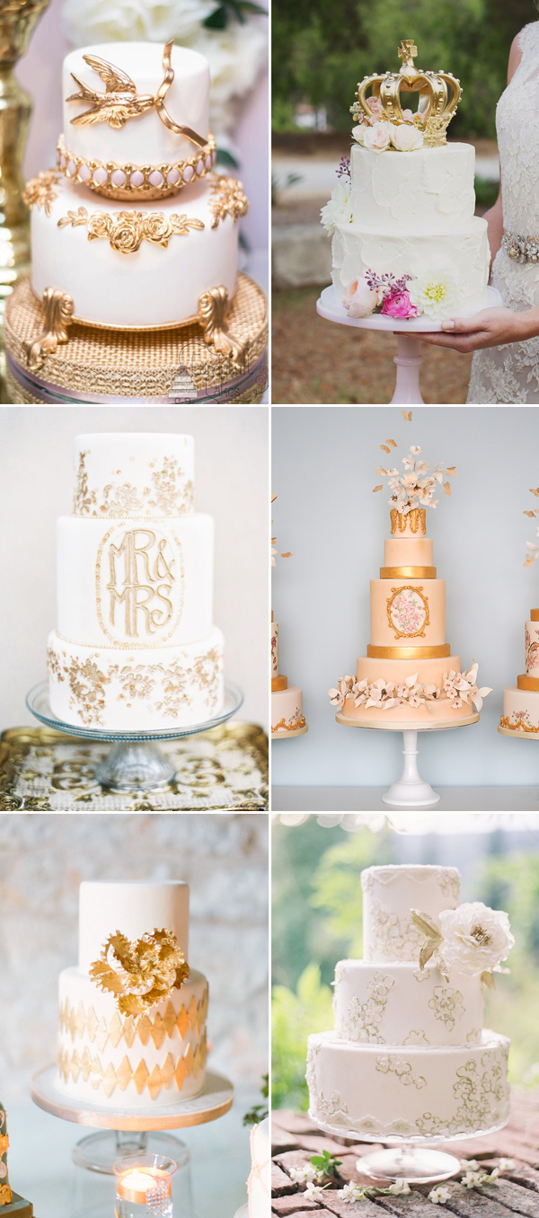 golden glam wedding cakes