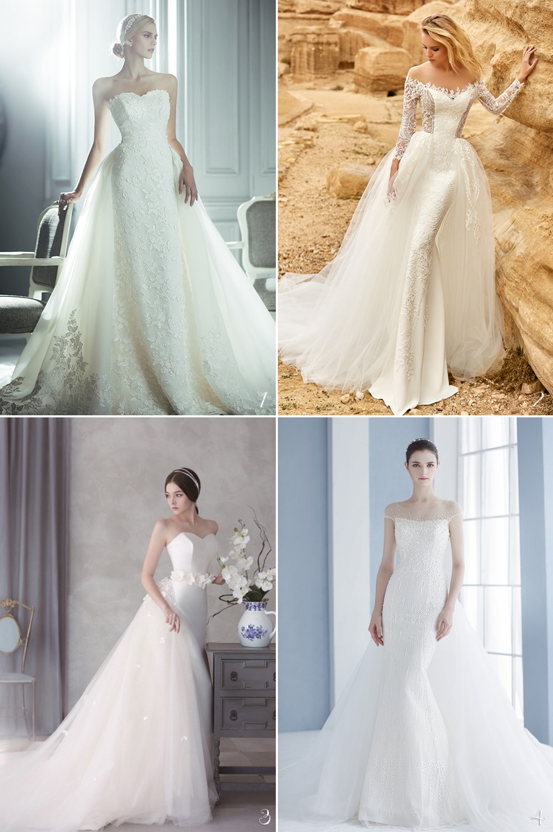 gorgeous overlay train wedding gown