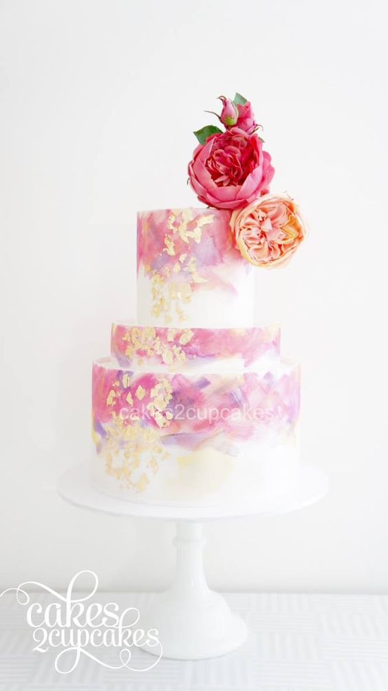 gorgeous pink wedding cake