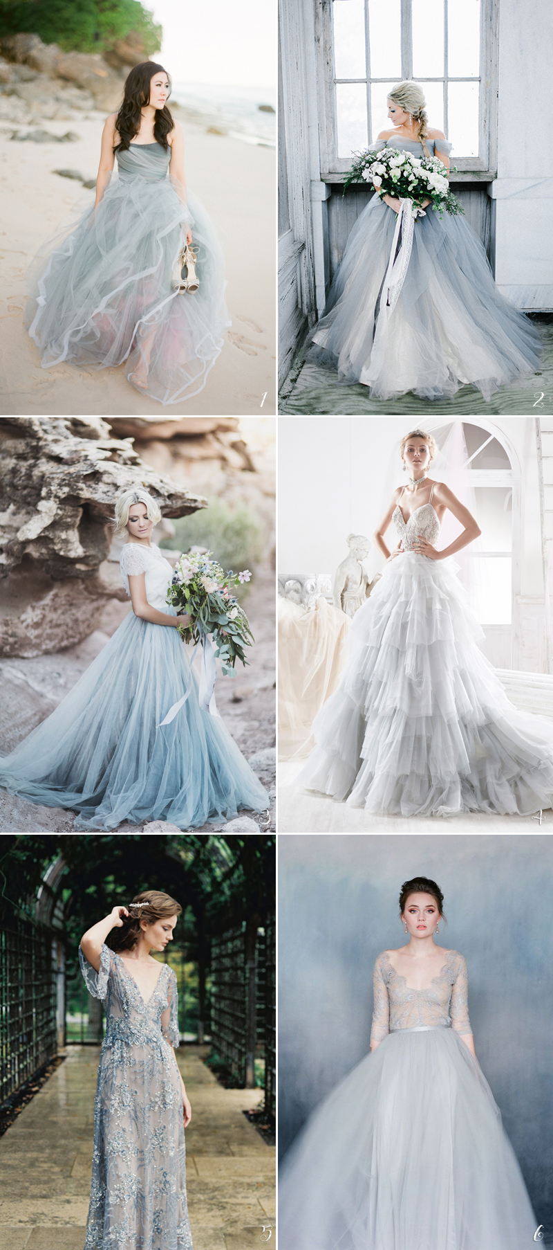 gorgeous smoky blue wedding gowns