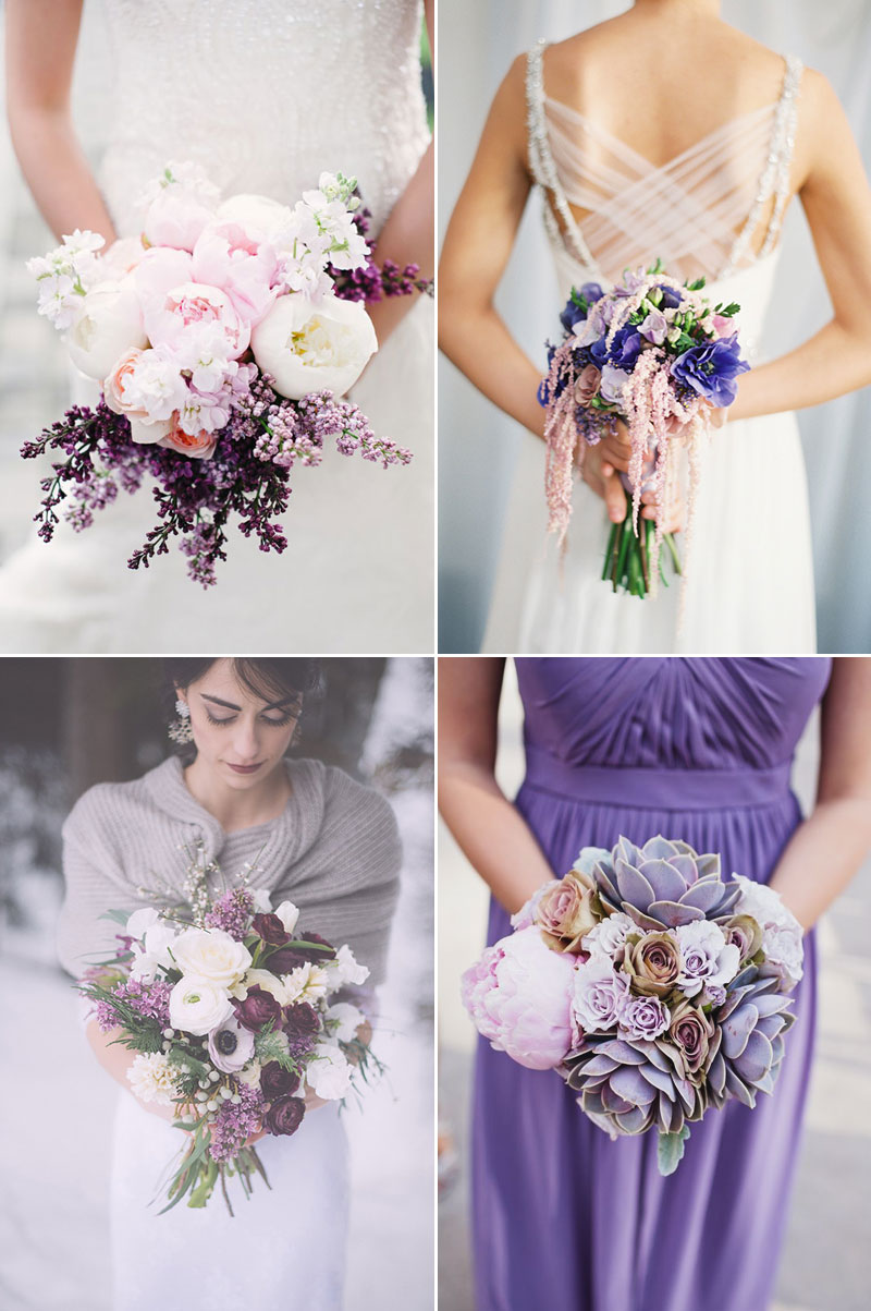 gorgeous wintry purple bouquet