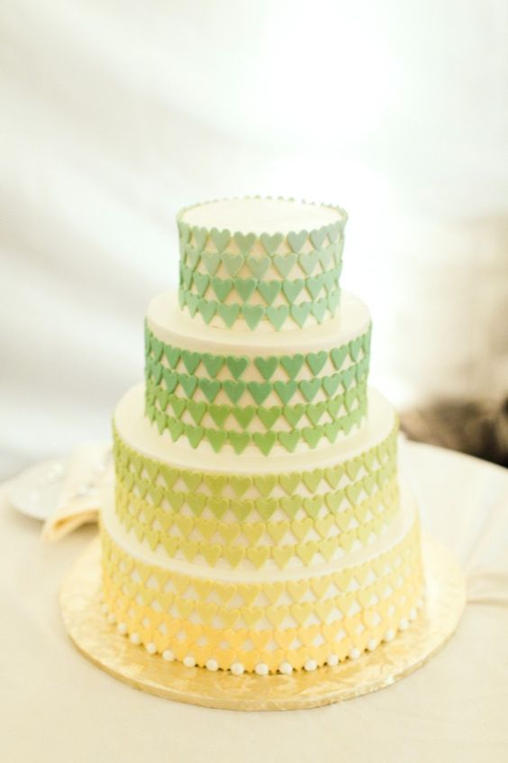 gradient yellow and green wedding cake