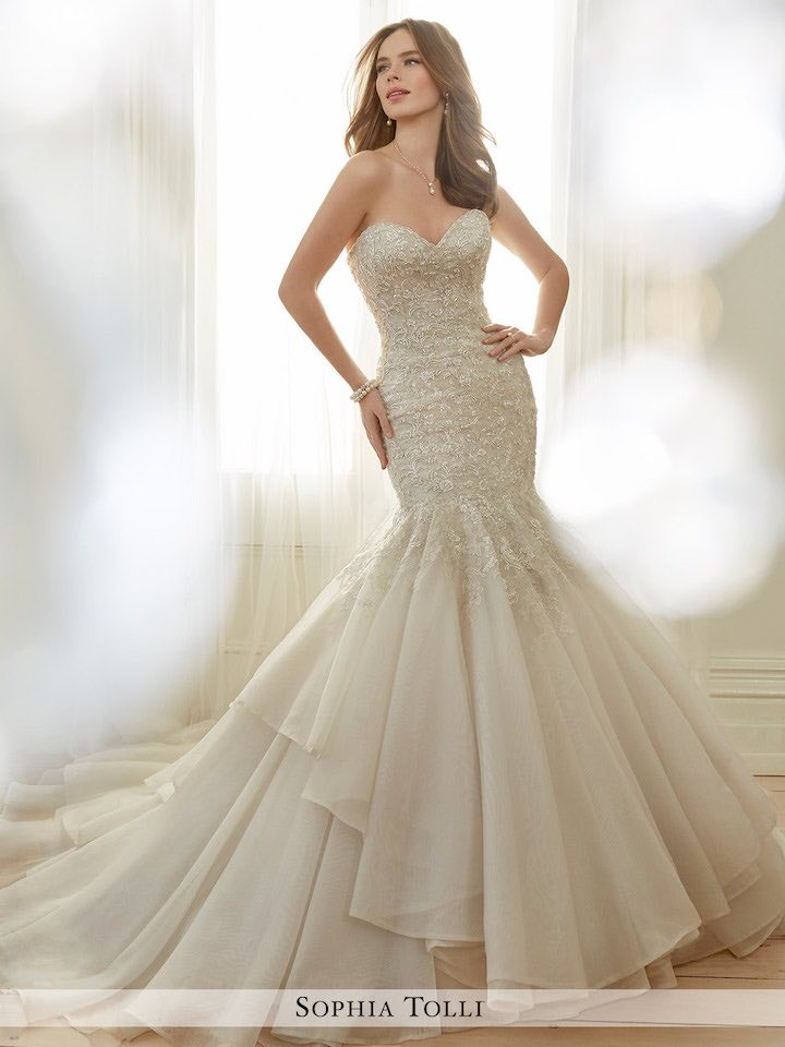 mermaid wedding gown with layer