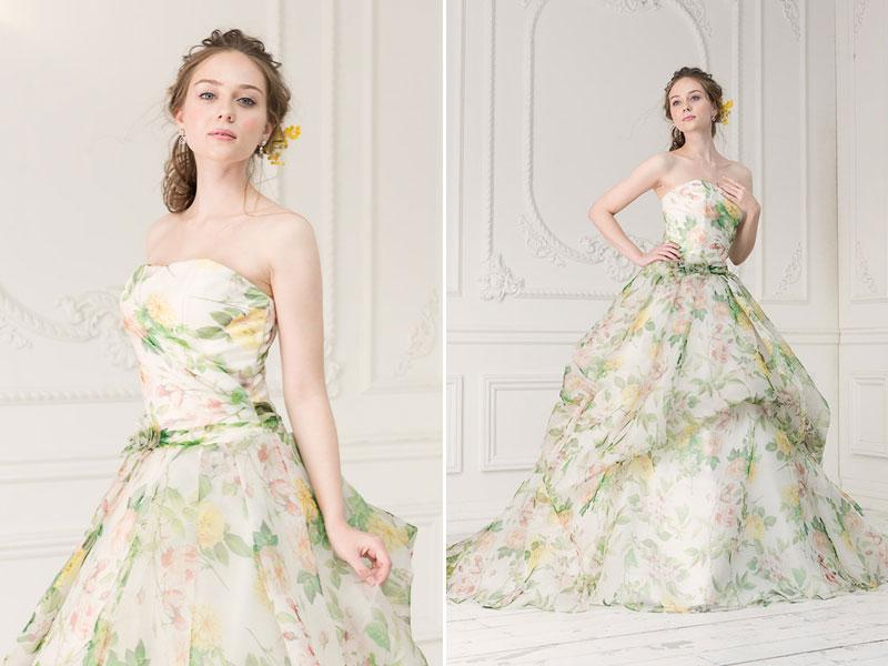 modern green floral motif gown