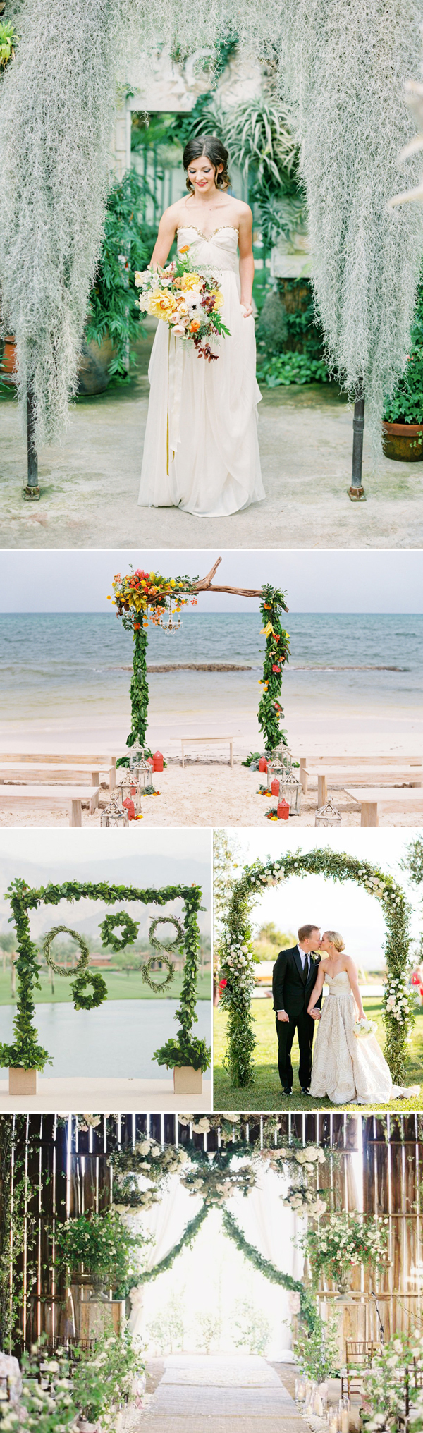 natural green wedding arch decor